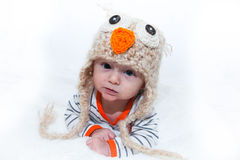 Adorable Baby in Owl Hat Royalty Free Stock Photos