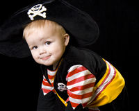 Adorable baby in a pirate costume. Royalty Free Stock Photography