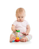 Adorable baby playing with color toy Royalty Free Stock Images