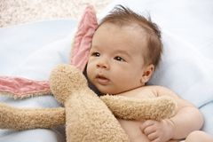 Adorable baby with plush bunny Royalty Free Stock Image