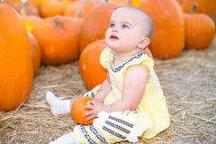 Adorable Baby in Pumpkin Patch Stock Images
