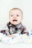 Adorable baby screaming in a plaid shirt Royalty Free Stock Photos
