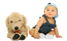 Adorable Baby Sit With His Stuffed Animal Royalty Free Stock Images