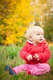 Adorable Baby Sit On Grass Under Yellow Tree Royalty Free Stock Photo