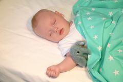Adorable baby sleeping in cradle. At home Royalty Free Stock Photo