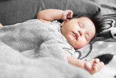 Adorable baby sleeping peacefully. 1 yo asian baby sleeping in fuzzy gray blanket Royalty Free Stock Images