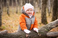 Adorable baby stay near fallen tree Royalty Free Stock Images