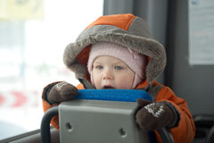 Adorable Baby Stay On Seat In Bus Stock Image