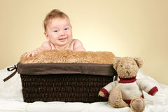 Adorable baby with teddy bear Royalty Free Stock Images