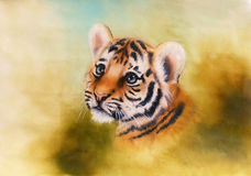 Adorable baby tiger head looking out from a green surroundings. A beautiful airbrush painting of an adorable baby tiger head looking out from a green royalty free illustration