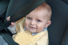 Adorable baby toddler in car seat Royalty Free Stock Photos