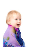 Adorable baby under kerchief on white Stock Images