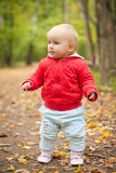 Adorable baby walk by road in park Stock Images
