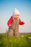 Adorable baby walk on top of hill Royalty Free Stock Photos
