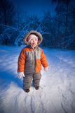Adorable baby walking in evening park Royalty Free Stock Photos