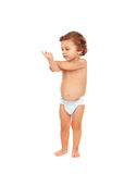 Adorable baby wearing diaper Stock Images