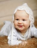 Adorable  baby in white hat Royalty Free Stock Photography
