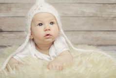 Adorable  baby in white hat Royalty Free Stock Images