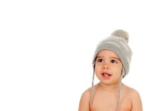 Adorable baby with wool cap. Isolated on a white background Royalty Free Stock Image