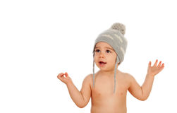 Adorable baby with wool cap. Isolated on a white background Stock Image