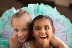 Adorable Ballerina Friends. Two little ballet students hugging each other Royalty Free Stock Photos