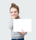 Adorable banner girl do not speak Royalty Free Stock Images