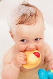 Adorable bath baby with soap suds Royalty Free Stock Photos