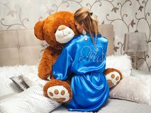 Adorable, Bathrobe, Bed Stock Images