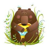 Adorable Bear Cub Eating Sweet Honey. Little adorable bear enjoying tasty honey. Vector illustration Stock Image