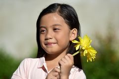 Adorable Beautiful Filipina Person With Flowers royalty free stock photography