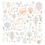 Vector set of outlined autumn forest trees, animals, birds and insects. Stock Photo