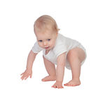 Adorable blond baby in underwear crawling Stock Photo