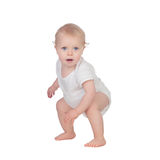 Adorable blond baby in underwear Stock Image