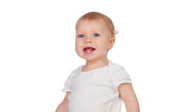 Adorable blond baby in underwear smiling Stock Images