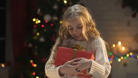 Adorable blond girl holding long awaited present, magic Christmas atmosphere. Stock footage stock footage