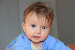 Adorable blonde baby in blue Stock Photography