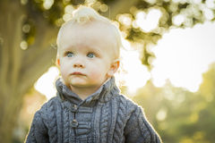 Adorable Blonde Baby Boy Outdoors at the Park Stock Photography