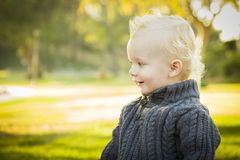 Adorable Blonde Baby Boy Outdoors at the Park Royalty Free Stock Photos
