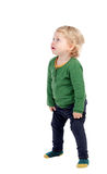 Adorable blonde baby looking up Royalty Free Stock Photos