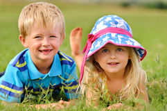 Adorable blonde children outdoors Stock Photography