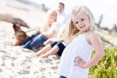 Adorable Blonde Girl Having Fun At the Beach Royalty Free Stock Photo