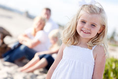 Adorable Blonde Girl Having Fun At the Beach Royalty Free Stock Images