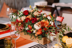 Adorable bouquet on luxury prepeared event table Stock Photography