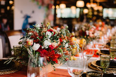 Adorable bouquet on luxury prepeared event table Stock Image