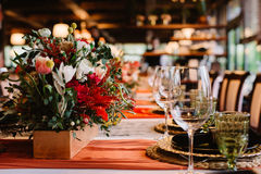 Adorable bouquet on luxury prepeared event table Stock Photos