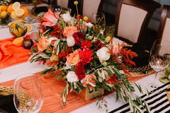 Adorable bouquet on luxury prepeared event table Stock Photo