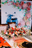 Adorable bouquet on luxury prepeared event table Royalty Free Stock Photos