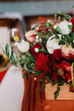 Adorable bouquet of roses, ranunculus and olive branches, closeup Royalty Free Stock Photography