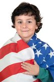 Adorable boy with american flag Royalty Free Stock Image