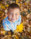 Adorable boy in autumn park Royalty Free Stock Photo